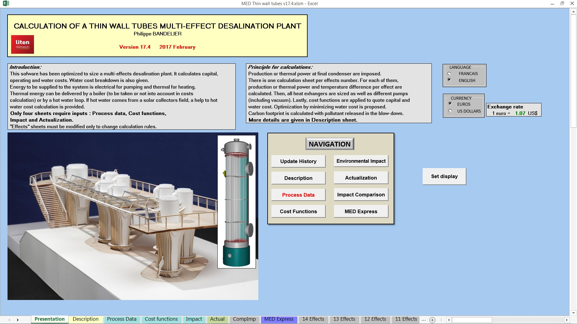 Software for sizing and calculating capital and water cost of